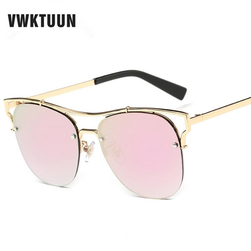 5d6acdc39c Vwktuun Gafas de sol mujeres medio Marcos sunglass vintage moda reflejado  espejo sombras oculos gafas de sol metal Marcos Gafas de sol