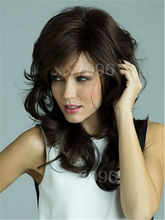 sexy ladies medium straight natural dark brown hair cosplay costume party full wigs + free wig cap sw0044