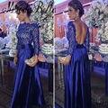 2017 Elegante Do Laço Azul Royal Vestido de Noite Manga Longa Até O Chão Vestido Formal Vestidos De Noite do Desenhador Da Soros Abiti Lunghi