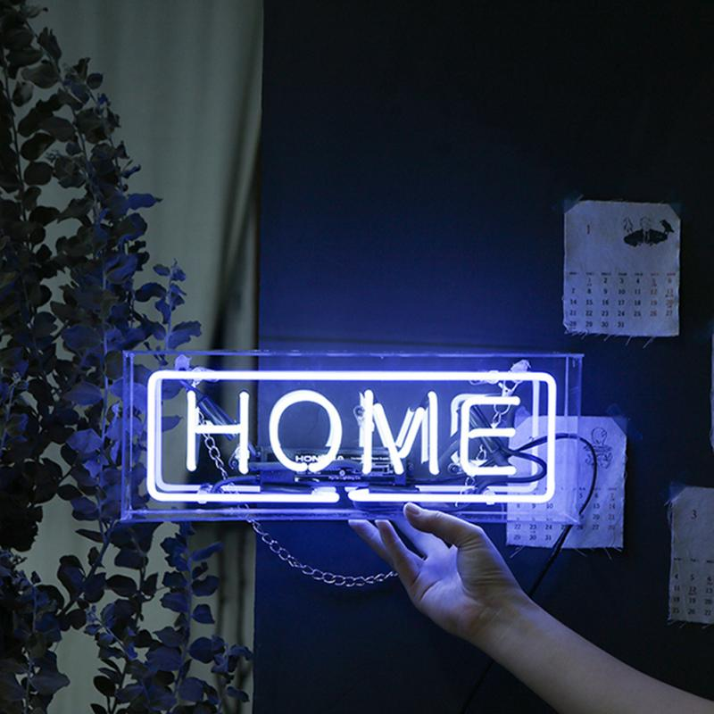 Handcraft Box Neon Sign Wedding Decorative Lamp Party Bedroom Atmosphere Light Hanging Acrylic Birthday Bar Gifts Message Board image