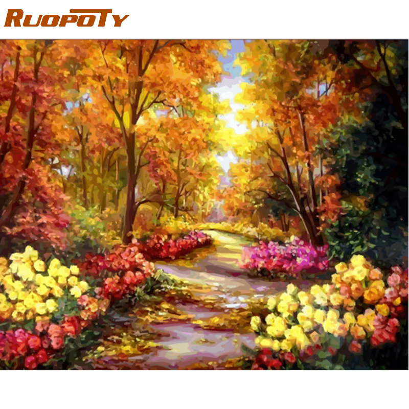 RUOPOTY Frame Autumn Forest DIY Oil Painting By Number Landscape Handpainted Oil Painting Modern Wall Art Picture For Home Decor