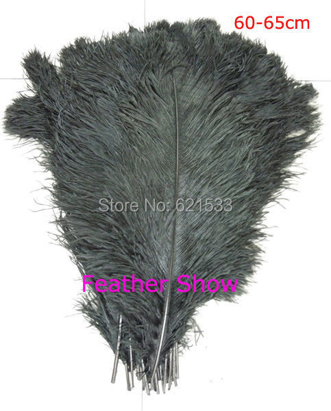 Hot 20pcs High Quality Natural OSTRICH FEATHERS Dyed Black Colour 24 26inches 60 65cm