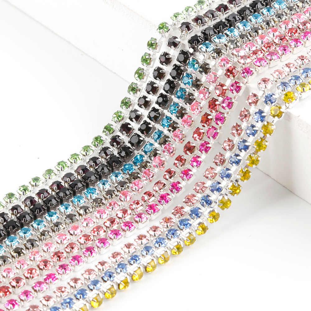 1 Meter/lot Jahit Kristal Berlian Imitasi Rantai SS6 SS8 SS10 SS12 Silver Dasar Cakar Gule Pada Berlian Imitasi Hiasan Diy Aksesoris Kecantikan