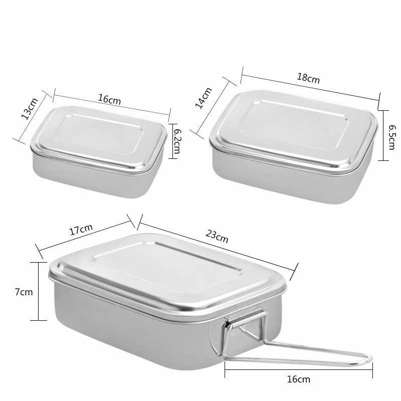 55a4280bafeb Stainless Steel Square Bento Lunch Box Food Container Storage Dinnerware  Portable Lunchbox