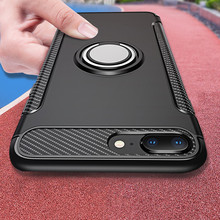 Luxury Car Holder Stand Magnetic Bracket Finger Ring Phone Case for iPhone 7 8 6 6S Plus X 5 5S SE Shockproof Rugged Armor Cover