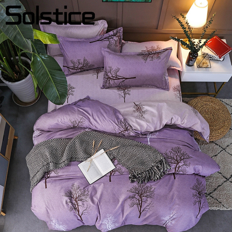 Solstice Pillowcase Duvet-Cover Tree-Bedding-Set Linens King Queen Home-Textile Purple