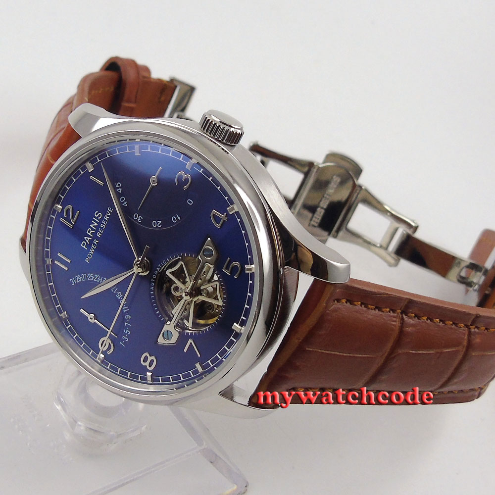 43mm parnis blue dial brown strap power reserve ST automatic mens watch 547 цена