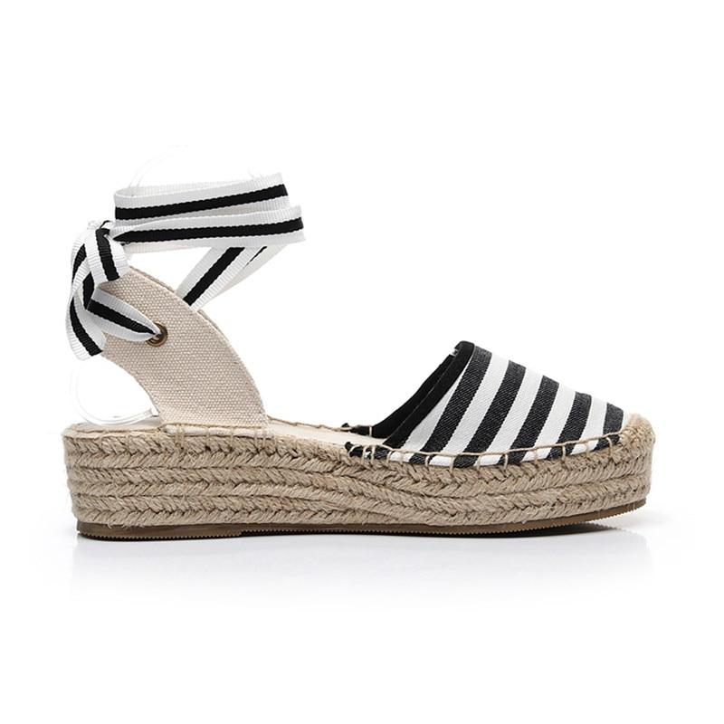 Summer Black Striped Wedge Espadrilles Women Sandals Closed Toe Lace Gladiator Sandal Women Casual Lace Up Women Platform Sandal (6)