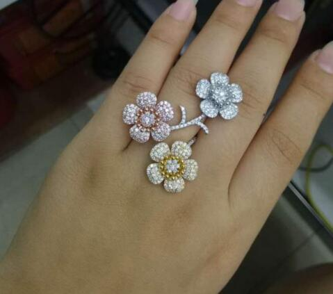Luxury Three Flower Cubic Zirconia Women Engagement 3 Tone Interval Cluster Ring
