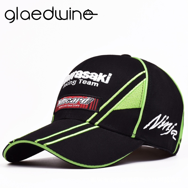 Men's   Baseball     caps   green Motorcycle Racing embroideried kawasaki   cap   Hat   baseball     cap   dad hat bone Casquette Truker   caps
