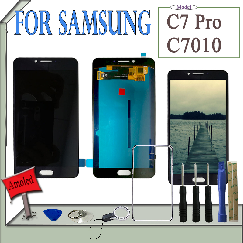 SZMUGUA Super AMOLED LCD Display C7 Pro For Samsung Galaxy C7 Pro C7010 LCD Display Touch Screen Digitizer Assembly With ToolsSZMUGUA Super AMOLED LCD Display C7 Pro For Samsung Galaxy C7 Pro C7010 LCD Display Touch Screen Digitizer Assembly With Tools
