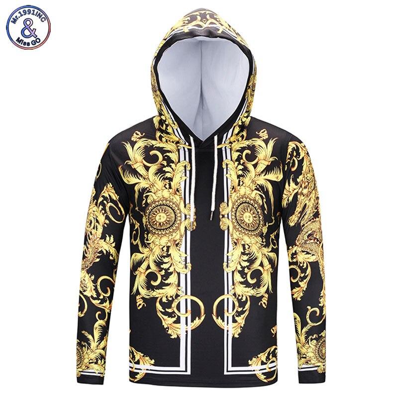 Mr.1991INC New Fashion Brand T-shirt Men/Women Hooded Tshirt Print Golden Flowers Long Sleeve T shirt With Hat