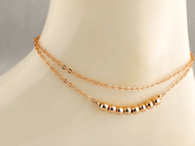 Fashion Simple Double Layer Metal Bead Anklets Girlfriend Gift Ankle Bracelet Foot Beach Jewelry