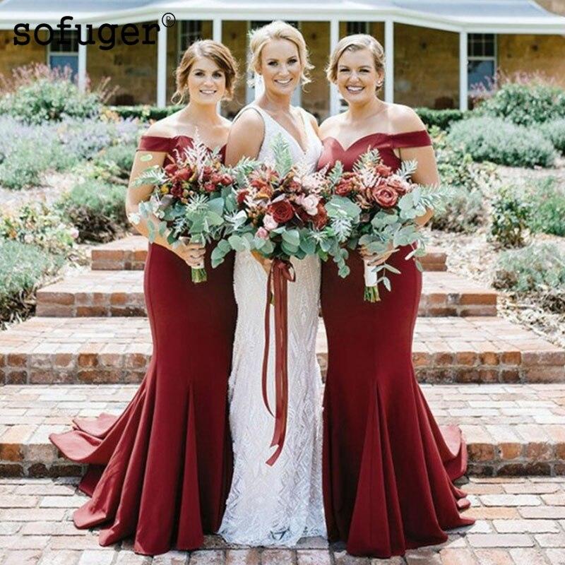 Burgundy Elegant Sweetheart Satin Off The Shoulder Special Occasion   Bridesmaid     Dresses   Formal Vestidos Wedding Party   Dresses
