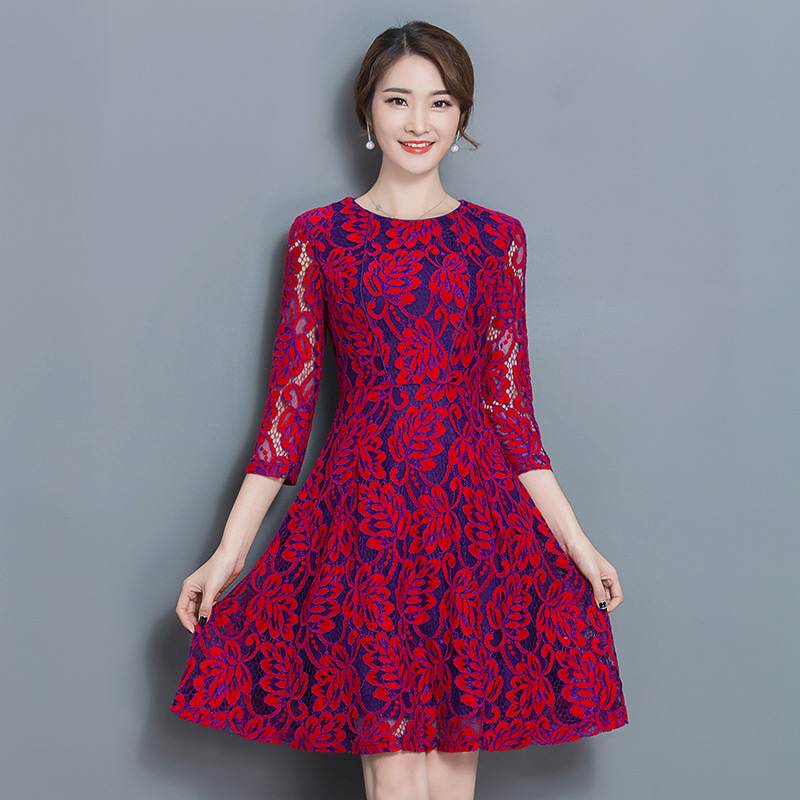Autumn new womens full lace dress A word red long Dresses big yards o neck korean fashion sexy party clothes design vintage