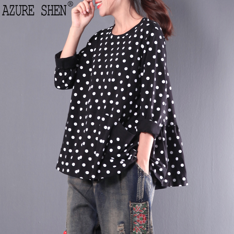 [EWQ] New Summer Fashion 2018 round collar casual loose dots pockets ruffles hem long-sleeved blouse shirt women QC451 ...