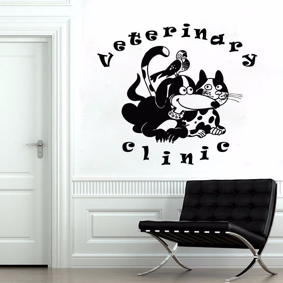Pet Salon Animals Pets Veterinary Clinic Dogs Cats Grooming Art Vinyl Wall Sticker Pet Shop Window Glass Room Decoration