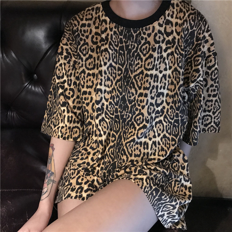 Leopard Print Loose T shirt Women Sexy Casual Streetwear Half Sleeve Long O Neck Female Summer 2018 t shirt Tops in T Shirts from Women 39 s Clothing