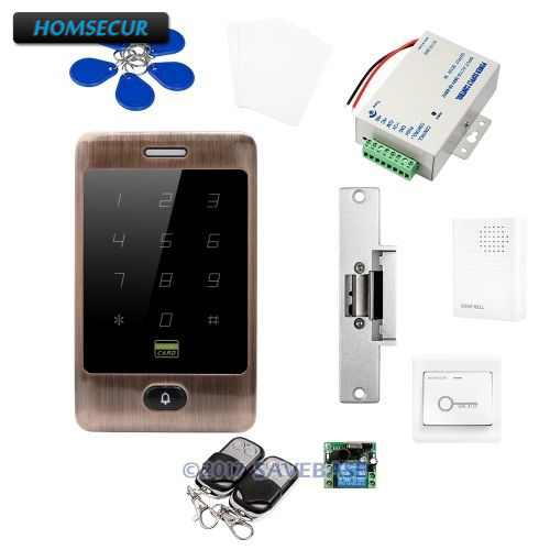 HOMSECUR Waterproof Metal Case Access Control IC Reader System+NC Strike Lock