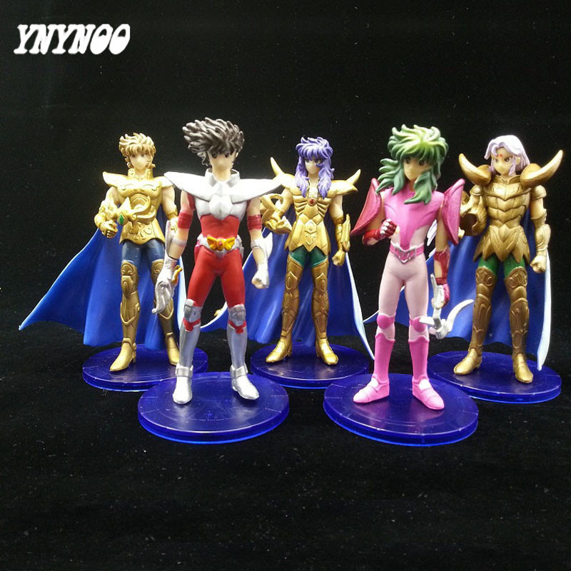 YNYNOO Anime Saints Seiya Shun The 1st Generation PVC Action Figures Collection Toys Dolls 5pcs/set Saints Seiya Action Figures