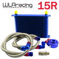 WLR-  UNIVERSAL 15 ROWS OIL COOLER KIT + M20XP1.5 3/4X16 UNF OIL FILTER SANDWICH ADAPTER+ STAINLESS STEEL BRAIDED OIL HOSE