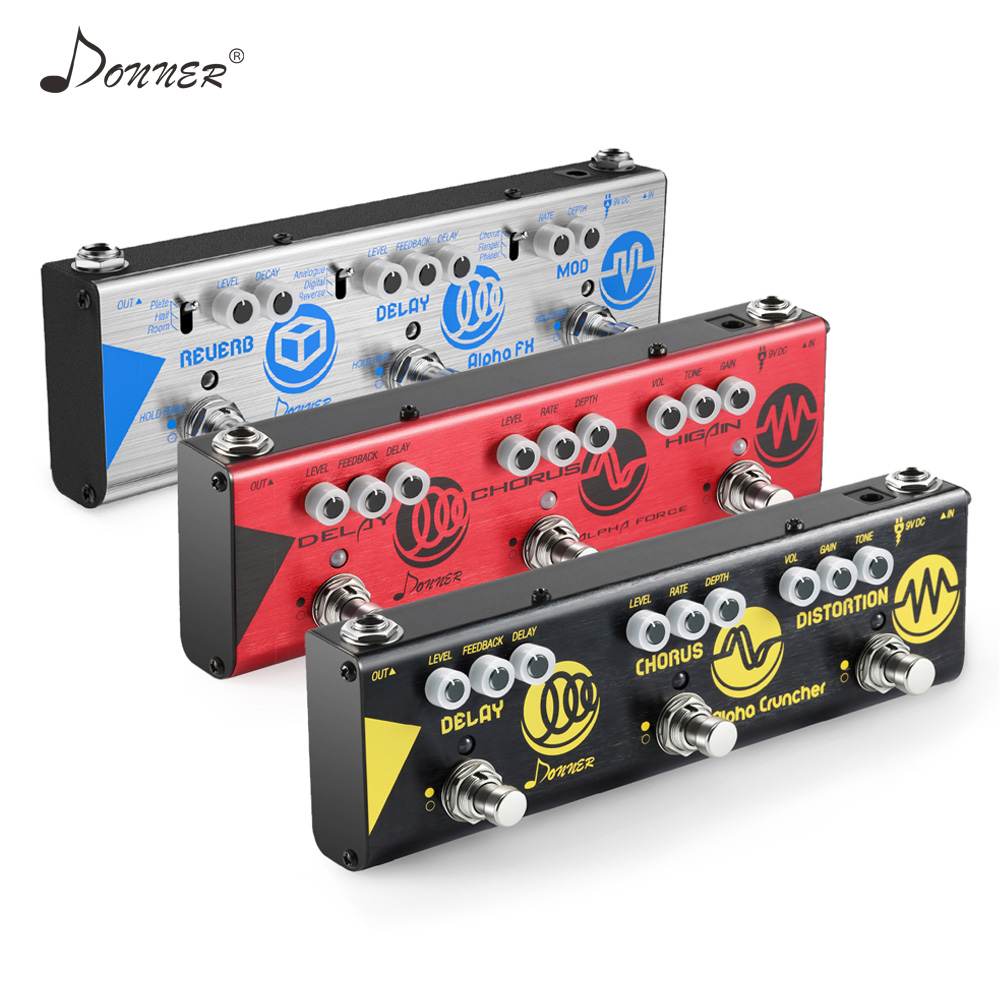 Donner 3 In 1 Multiple-effect Electric Guitar Pedal Delay Chorus Distortion Higain Reverse Modulation Effects Chain Pedal New