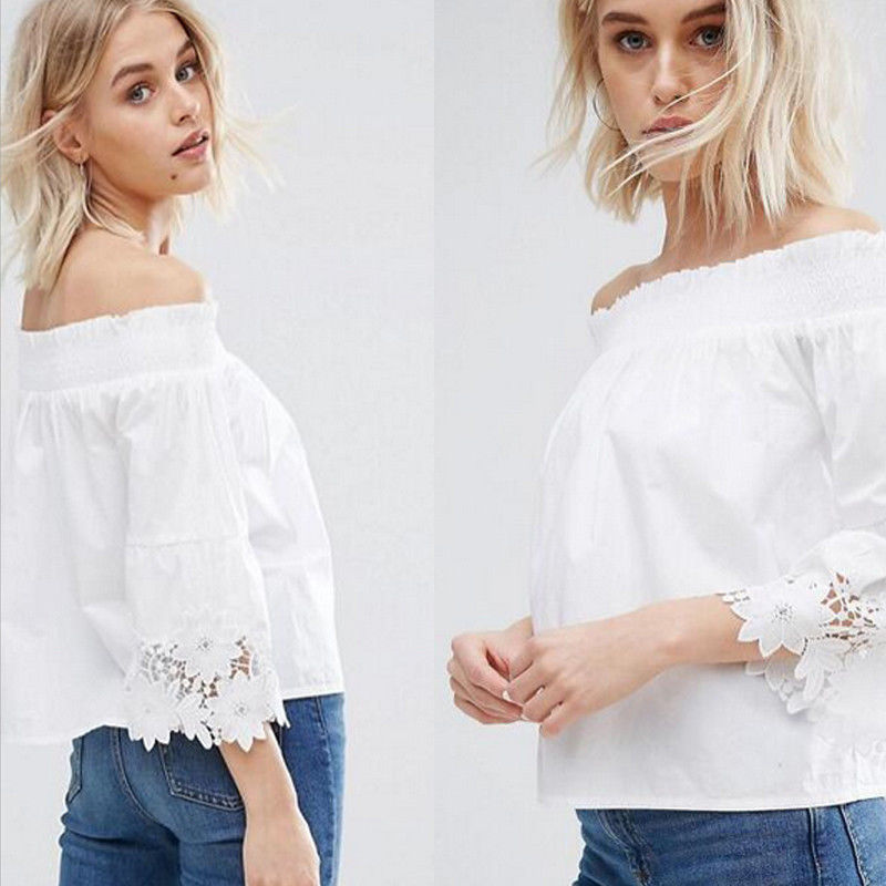 New Fashion Women's Ladies Summer Off Shoulder Lace Cotton Loose Tops Three Quarter Sleeve Shirt Casual Sexy Slash Neck Blouse