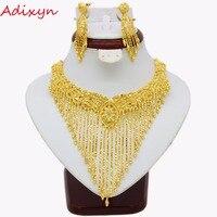 Adixyn новый роскошный Цепочки и ожерелья Серьги множество ювелирных золота Цвет арабских/эфиопских/Африканский/Дубай Для женщин Обувь для де