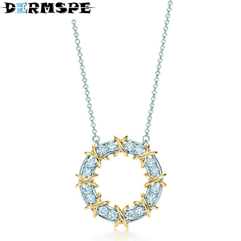 925 Sterling Silver Brand New Authentic Charm Elegant Geometric Round Zircon Hollow Pendant Necklace DIY Gift Women Jewelry elegant faux zircon hollow out anklet for women
