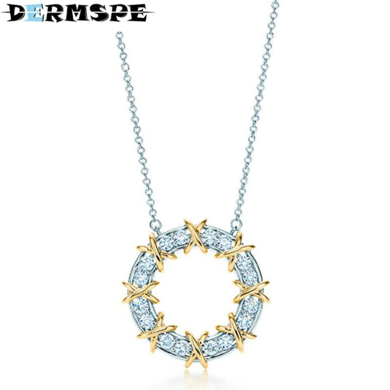 925 Sterling Silver Brand New Authentic Charm Elegant Geometric Round Zircon Hollow Pendant Necklace DIY Gift Women Jewelry недорго, оригинальная цена