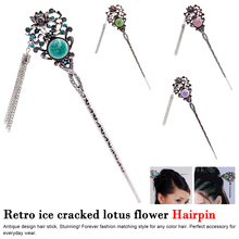 Vintage Chinese Traditional Silver Hair Stick Tassel Bead Head Decorations Women Jewelry Gift