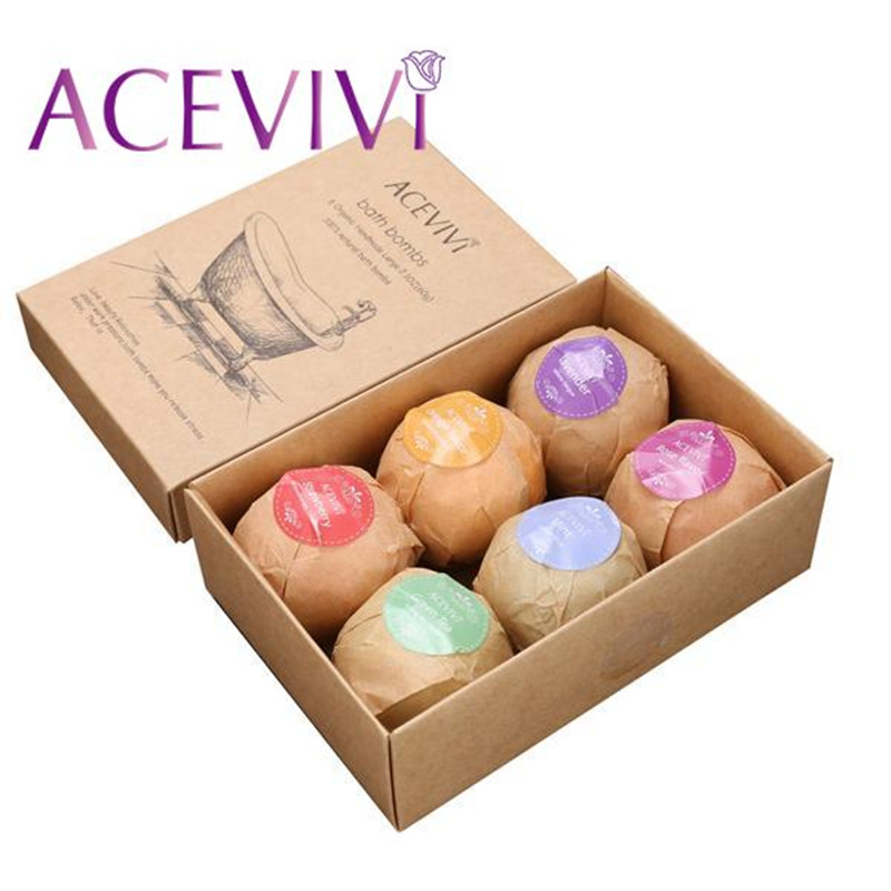 ACEVIVI 6Pcs Organic Bath Salt Bombs Bubble Salts Ball Oil Sea Salt Handmade SPA Stress Relief Exfoliating Mint Lavender Flavor