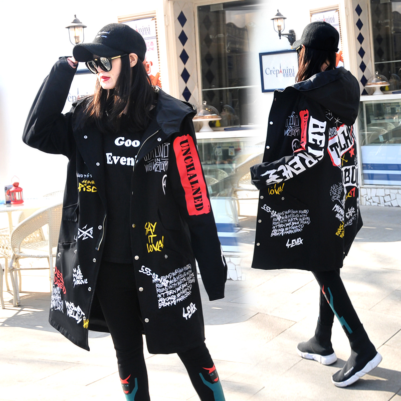 Women's 2019 Spring Hip-hop Letter-printed Windbreaker BF Hooded   Trench   Coat