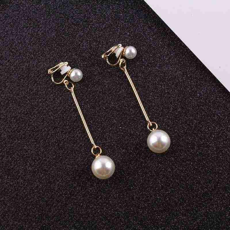 JIOFREE Fashion Wedding party Gift Elegant imitation pearl clip on earrings without pierced earrings no ear hole clip jewelry