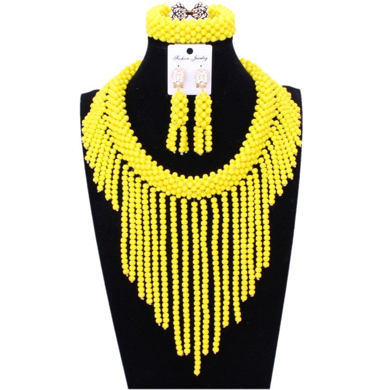 Fine bijoux ensemble jaune africain perle collier ensemble Choker Design à la main mariée bijoux ensembles mariage livraison gratuite dubaï 2018