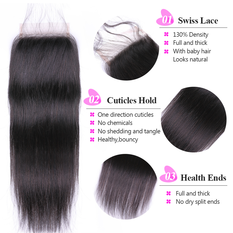 Brazilian Straight Hair Bundles With Closure 100% Human Hair Bundles With Closure Reshine Hair Remy Hair 3 Bundles With Closure