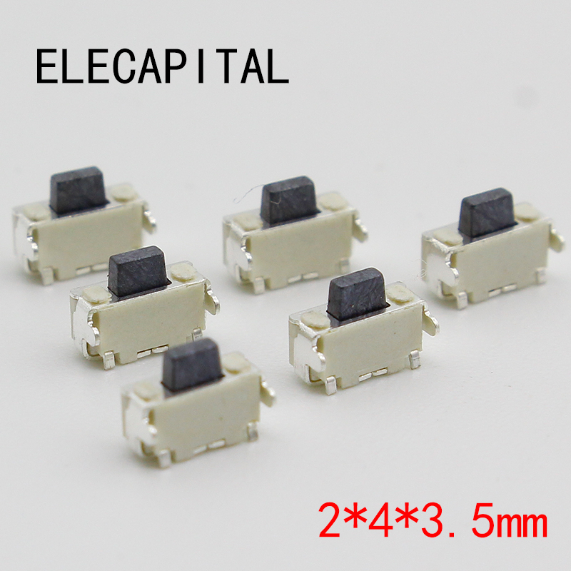 10pcs/lot 2x4 2*4*3.5 MM micro SMD Tact Switch side button Switch phone button 50pcs lot 6x6x7mm 4pin g92 tactile tact push button micro switch direct self reset dip top copper free shipping russia