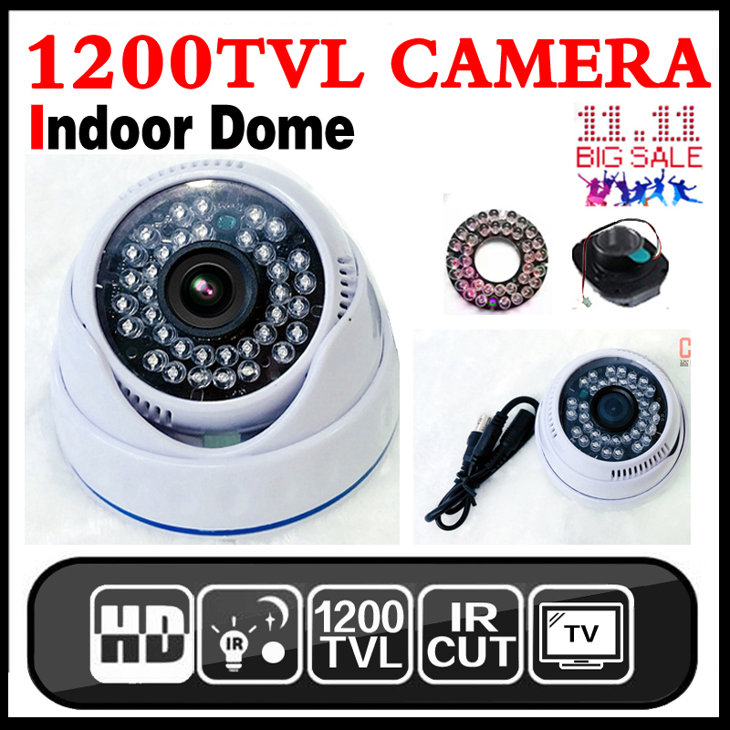 HotSale 1200TVL HD 1/3cmos INDOOR Dome Surveillance Security CCTV Analog mini Camera 36LED IR-CUT Night Vision 30m home Video 10 pcs ir led night vision 1 3 cmos 1200tvl mini analog security box cctv camera install into atm machine