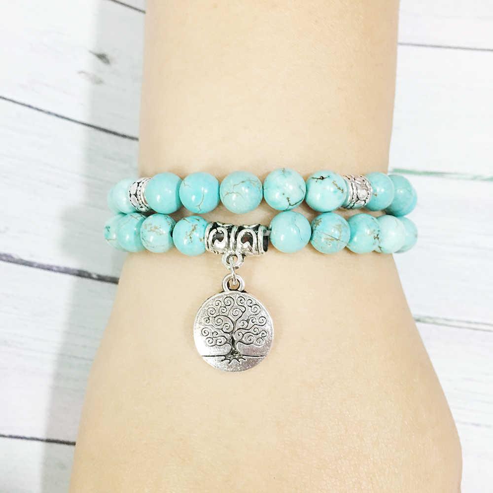 Ruberthen joyería Árbol de la vida mala de yoga pulsera de piedra de protección curativa elástica con cuentas apilamiento de joyería de pulsera espiritual