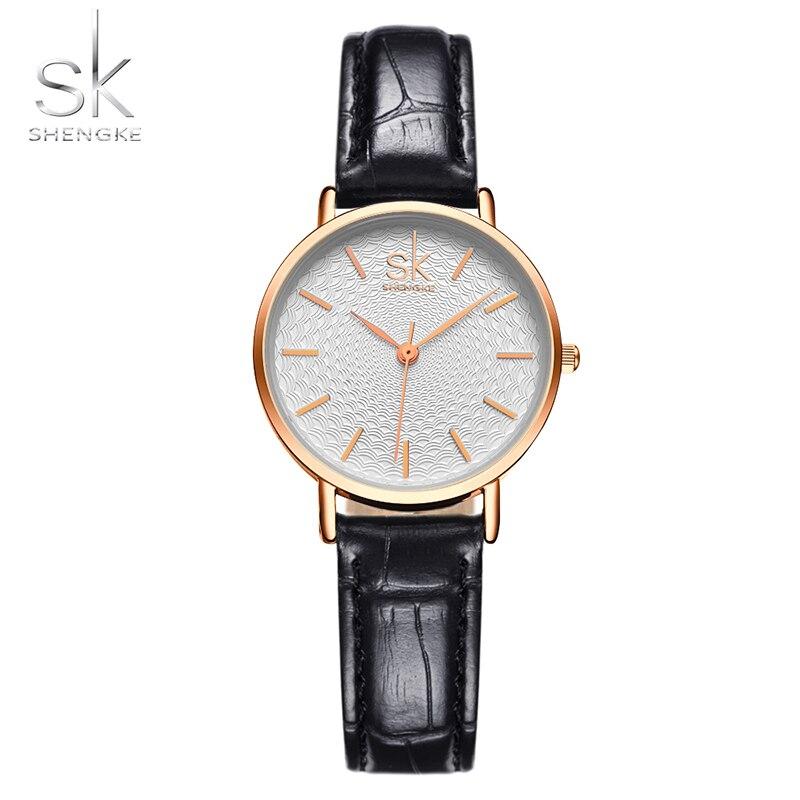 SK Women Fashion Wrist Watches Black Leather Watchband Top Luxury Brand Female Simple Bracelet Clock Ladies Gold Wristwatch нож кухонный supra sk tk17st black