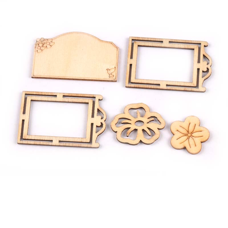 16Pcs 20x45mm Mix Wooden Frame Flowers For Sewing Scrapbook Home ...