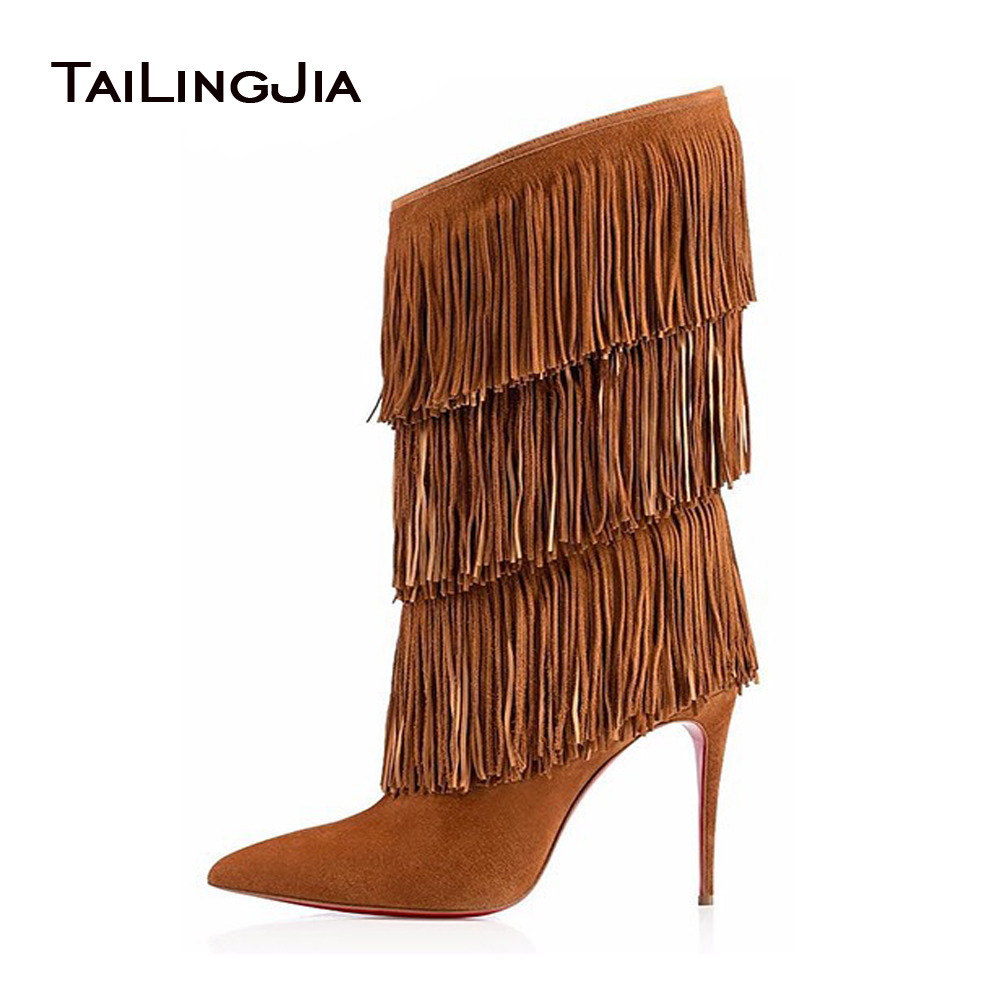 Women Tassel Boots Brown Black Pointed Toe High Heel Fringe Mid Calf Boots Stiletto Sexy Winter Shoes Large Size Street Style
