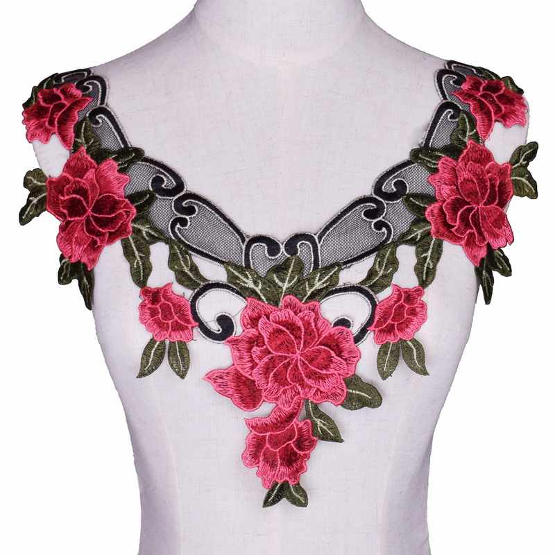 3D Flower Colorful Lace Neckline Collar Lace Trim Applique Polyester for Clothes Fabric Apparel Sewing On Home Textiles red