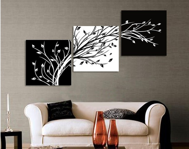 Original oil ink 3 panels black white trees canvas flower painting on canvas wall art picture