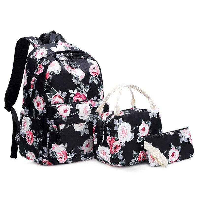 Girls Backpack Flower Printing School Backpacks College School Bags For Teenage Girls Bookbag Laptop Rucksack Travel Daypack