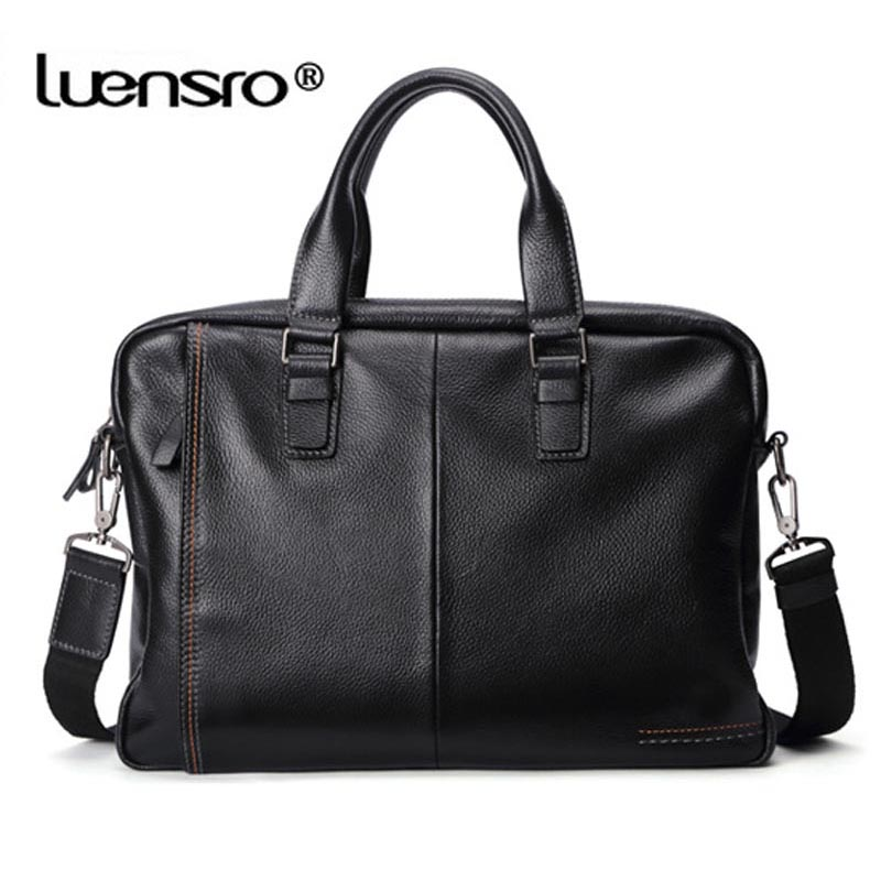 Image 3 - LUENSRO 100% Genuine Leather Briefcase Men Bag Business Handbag Male Laptop Shoulder Bags Tote Natural Skin Men Briefcase-in Briefcases from Luggage & Bags