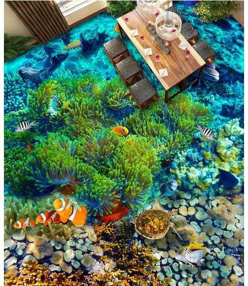 Papier peint 3d personnalisé papier peint sous-marin monde poisson tropical 3 d carrelage pvc papier peint pour salon stickers muraux