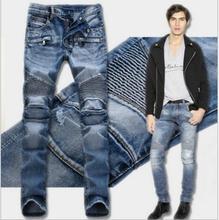 2016 mode Vintage Marke Slim Fit Männer Skinny Jeans Hosen Jogger Biker Moto Jeans Herren Black Ripped Hellblaue Jeans Männer