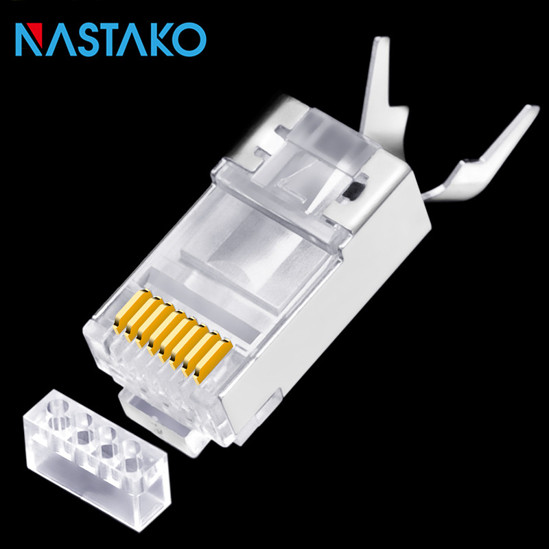 RJ45 Cat7 Connector Cat7 RJ45 Plug 50U Gold-plated Cat7 Shielded RJ45 Connector 8P8C Ethernet Network Cable Cat 7 Modular Plugs