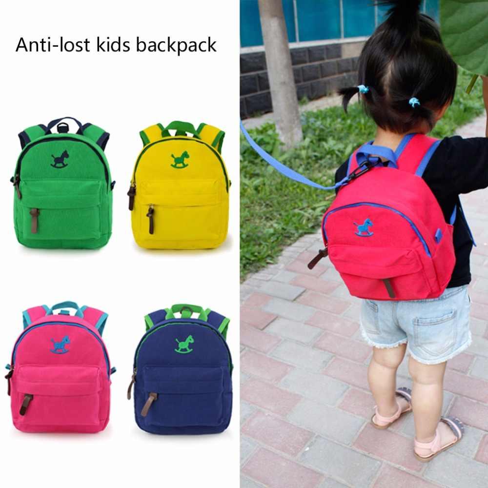 10d85dfe1e6d Fashion Small Backpack with Anti-lost Band Kids Children Cartoon  Kindergarten Canvas School Bag Bookbags
